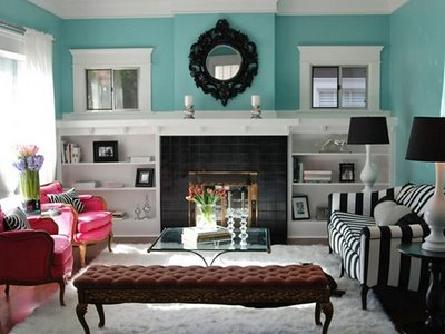 Tiffany blue living room decoradore contrasting black for Tiffany blue living room ideas